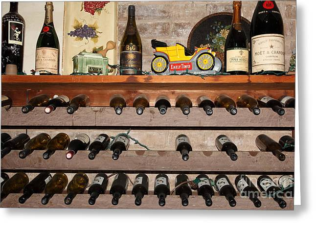 Wine Rack Greeting Cards - Wine Rack In The Cellar Room At the Swiss Hotel In Sonoma California 5D24445 Greeting Card by Wingsdomain Art and Photography