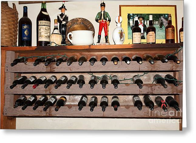 Rack Greeting Cards - Wine Rack In The Cellar Room At the Swiss Hotel In Sonoma California 5D24446 Greeting Card by Wingsdomain Art and Photography