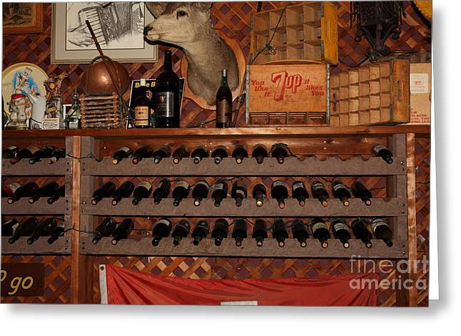Wine Rack Greeting Cards - Wine Rack In The Cellar Room At the Swiss Hotel In Sonoma California 5D24449 Greeting Card by Wingsdomain Art and Photography
