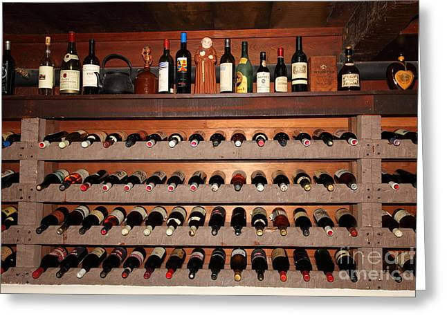 Wine Rack Greeting Cards - Wine Rack In The Private Dining Room At the Swiss Hotel In Sonoma California 5D24461 Greeting Card by Wingsdomain Art and Photography