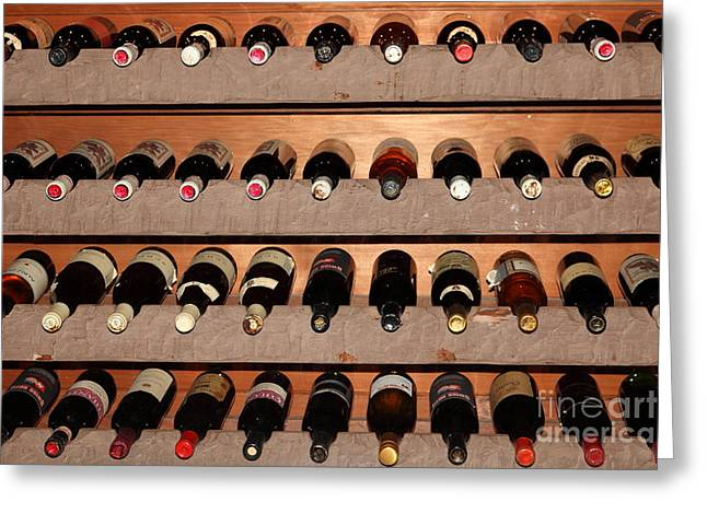 Rack Greeting Cards - Wine Rack In The Private Dining Room At the Swiss Hotel In Sonoma California 5D24462 Greeting Card by Wingsdomain Art and Photography