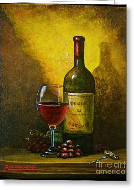 Italian Art Greeting Cards - Wine Shadow Ombra Di Vino Greeting Card by Italian Art