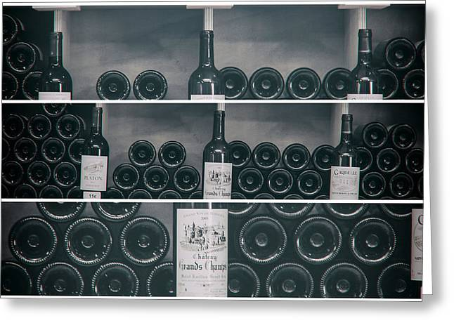 Cellar Greeting Cards - Wine Shelf Collage Greeting Card by Nomad Art And  Design