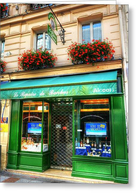 Wine Shop Greeting Cards - Wine Shop On Rue Cler Greeting Card by Mel Steinhauer