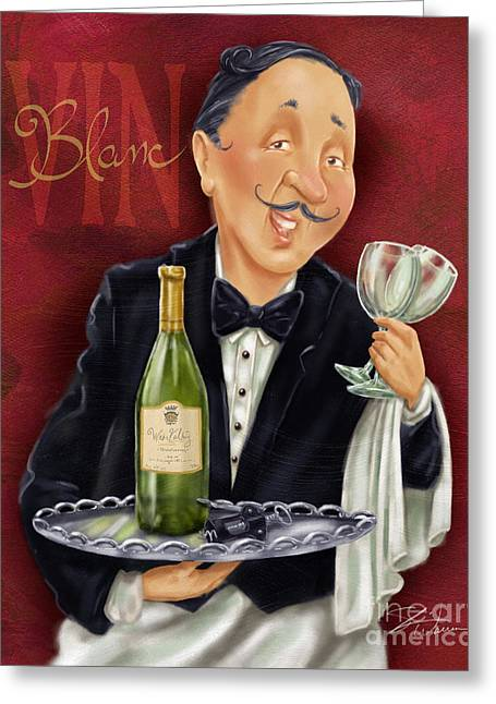 Waiter Greeting Cards - Wine Sommelier Greeting Card by Shari Warren