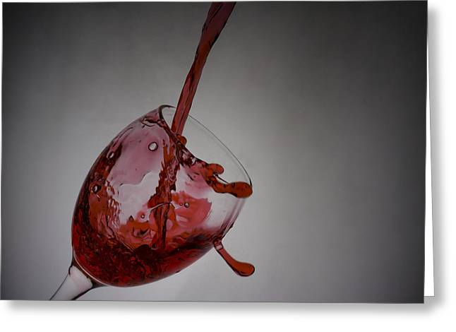 Pouring Wine Greeting Cards - Wine splash in glass Greeting Card by Newnow Photography By Vera Cepic
