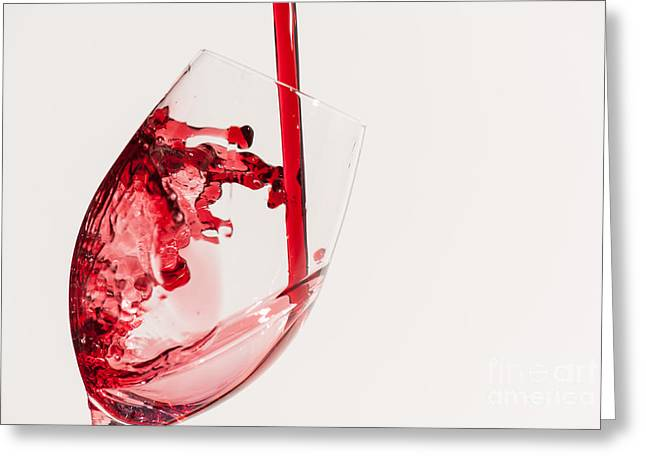 Pouring Wine Greeting Cards - Wine Splash Greeting Card by Tod and Cynthia Grubbs
