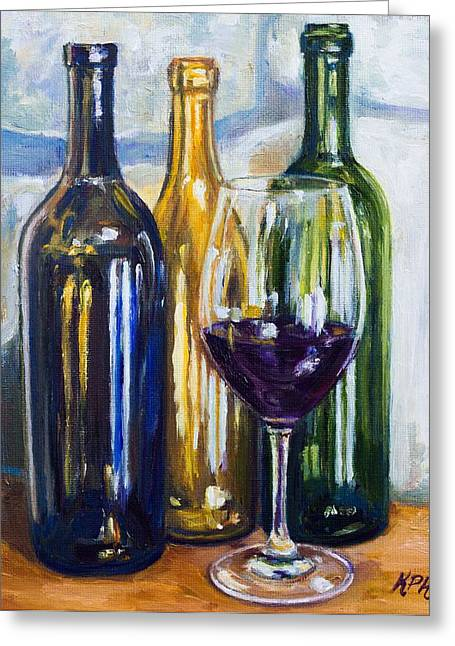 Wine Reflection Paintings Greeting Cards - Wine Still Life Greeting Card by Kevin Richard