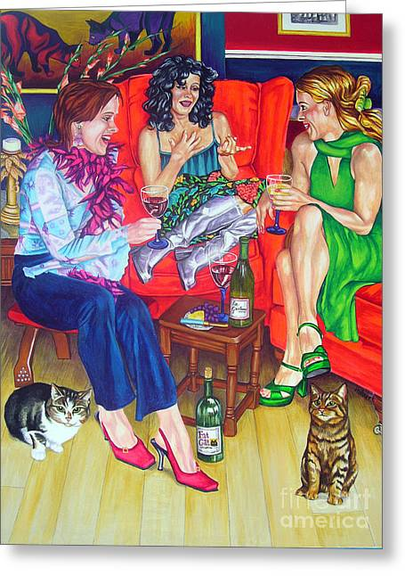 Red Cat Wine Greeting Cards - Wine Talk one Greeting Card by Louise Hallauer