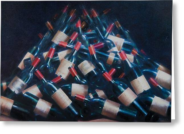 Wine Party Greeting Cards - Wine Tasted, 2012 Acrylic On Canvas Greeting Card by Lincoln Seligman