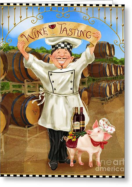 Tasting Wine Greeting Cards - Wine Tasting Chef Greeting Card by Shari Warren