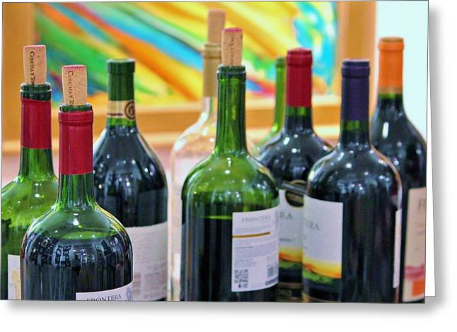 Blue And Green Greeting Cards - Wine Tasting Greeting Card by Cynthia Guinn
