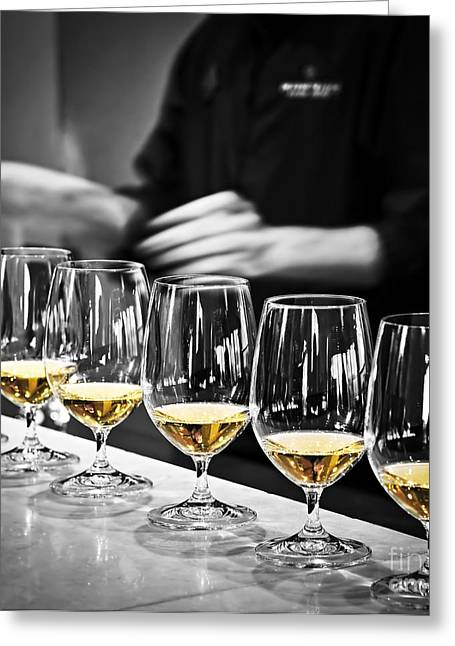 Riesling Greeting Cards - Wine tasting glasses Greeting Card by Elena Elisseeva