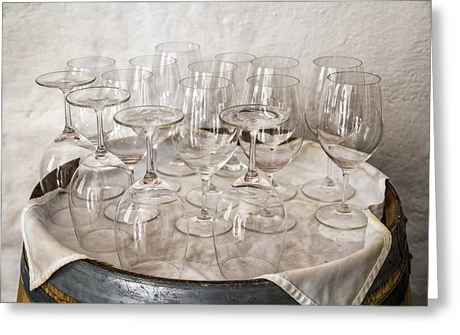 Wine Reflection Art Photographs Greeting Cards - Wine Tasting Glasses Greeting Card by Nomad Art And  Design