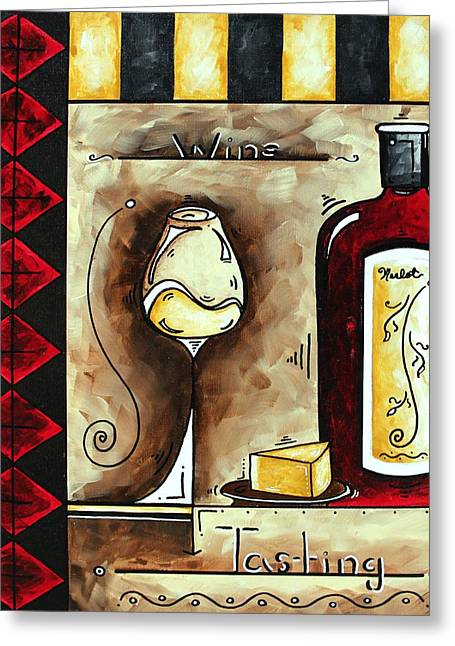Red Wine Prints Greeting Cards - WINE TASTING Original MADART Painting Greeting Card by Megan Duncanson