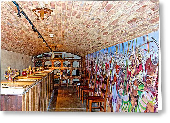 Tasting Rooms California Greeting Cards - Wine Tasting Room in Castello di Amorosa in Napa Valley-CA Greeting Card by Ruth Hager