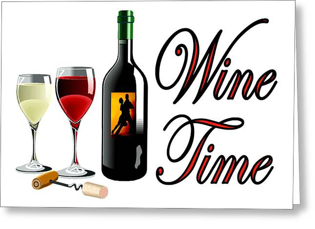 Cellar Drawings Greeting Cards - Wine Time Greeting Card by Bern Hopkins