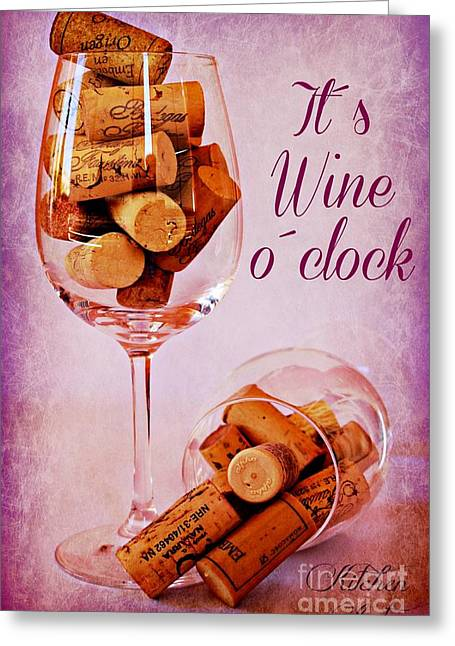 Images Of Wine Bottles Digital Art Greeting Cards - Wine Time Greeting Card by Clare Bevan