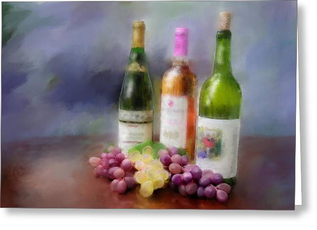 Red Wine Prints Greeting Cards - Wine Time Greeting Card by Mary Timman