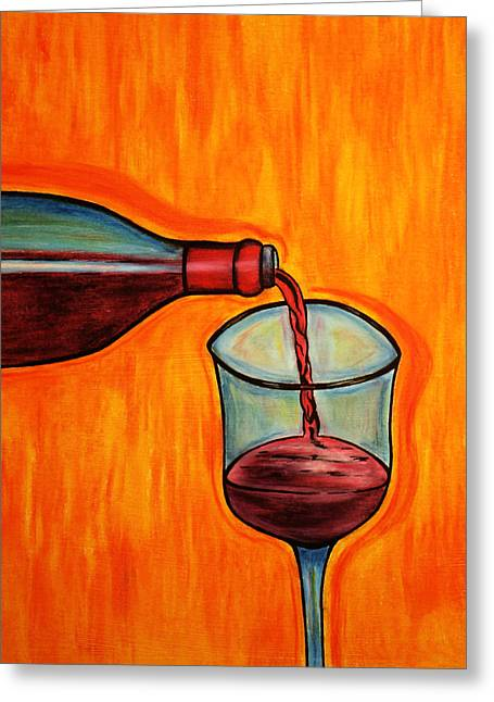 Burgundy Pastels Greeting Cards - Wine Time Greeting Card by Morning Coffee