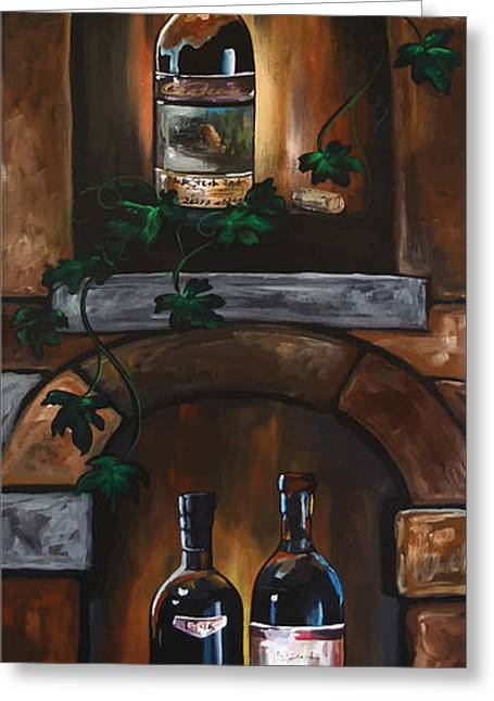 Bottles On A Shelf Greeting Cards - Wine Trio Greeting Card by Danise Abbott