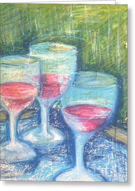 Wine Trio Greeting Card by Rosemary Bingay