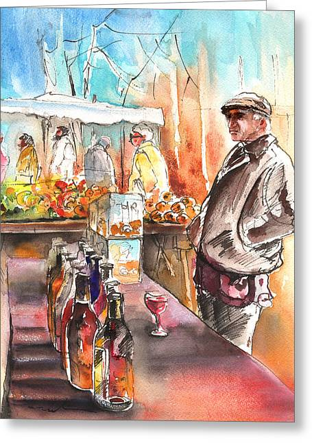 French Wine Bottles Drawings Greeting Cards - Wine Vendor in A Provence Market Greeting Card by Miki De Goodaboom
