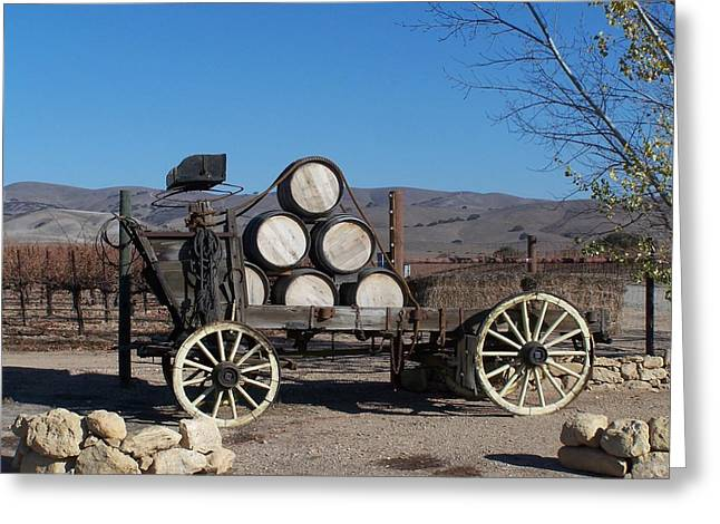 Wine Wagon Greeting Card by Jewels Blake Hamrick