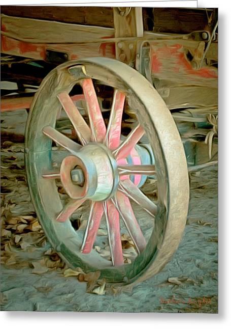 Spokes Paintings Greeting Cards - Wine Wagon Wheel Digital Greeting Card by Barbara Snyder