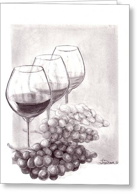Wine-glass Drawings Greeting Cards - Wine Wine Wine Greeting Card by Joyce Blank