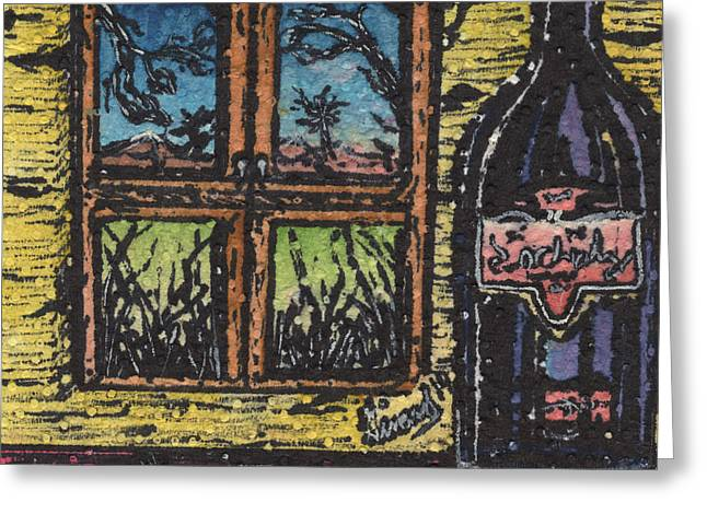 Table Wine Drawings Greeting Cards - Wine With a View Greeting Card by Jason Girard