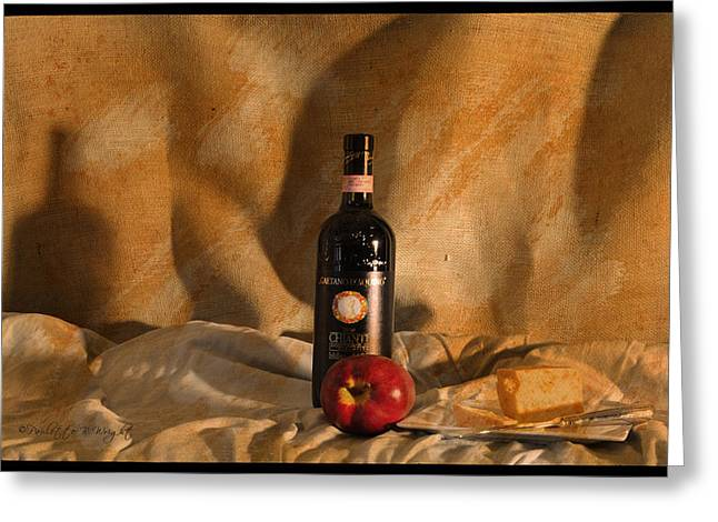 Chianti Digital Art Greeting Cards - Wine With An Apple and Cheese Greeting Card by Paulette B Wright