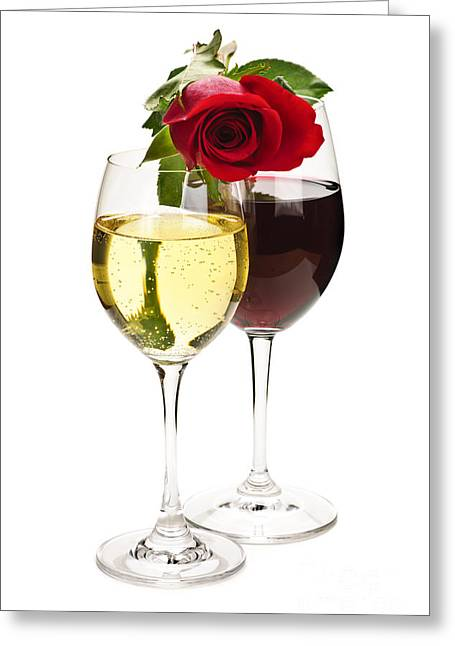 Toast Photographs Greeting Cards - Wine with red rose Greeting Card by Elena Elisseeva