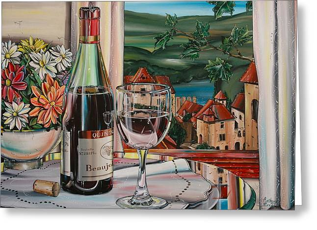 Anthony Mezza Paintings Greeting Cards - Wine With River View Greeting Card by Anthony Mezza
