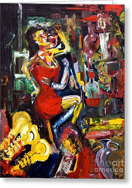 Dance Floor Paintings Greeting Cards - Wine Woman And Music Greeting Card by James Lavott