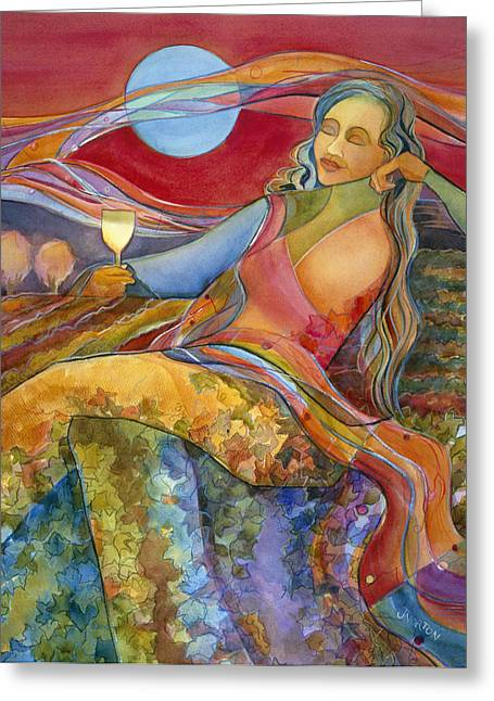 Wine Country. Greeting Cards - Wine Woman and Song Greeting Card by Jen Norton