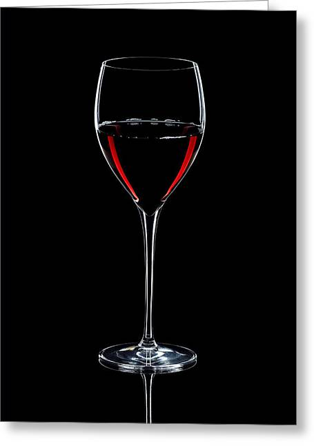 Alex Sukonkin Greeting Cards - Wineglass Filled With Red Wine Silhouette Greeting Card by Alex Sukonkin
