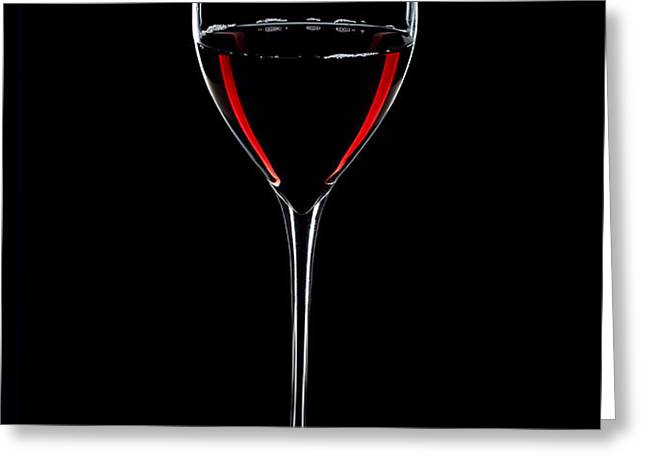 Wineglass Filled With Red Wine Silhouette Greeting Card by Alex Sukonkin