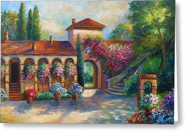 Winery in Tuscany Greeting Card by Gina Femrite