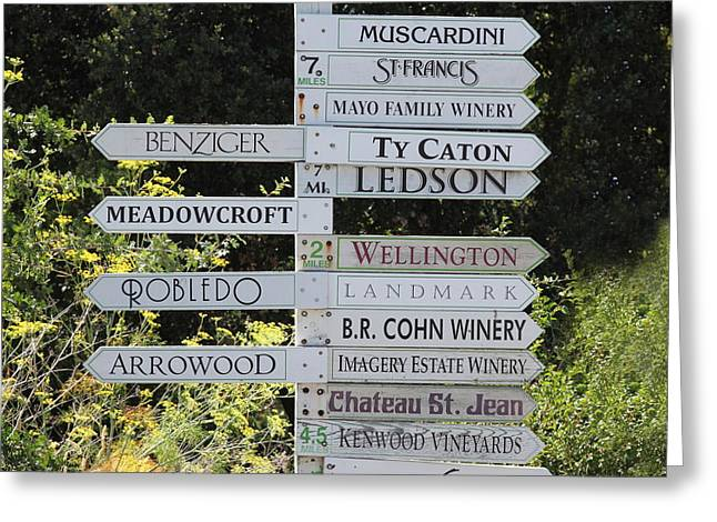Winery Street Sign In The Sonoma California Wine Country 5d24601 Square Greeting Card by Wingsdomain Art and Photography
