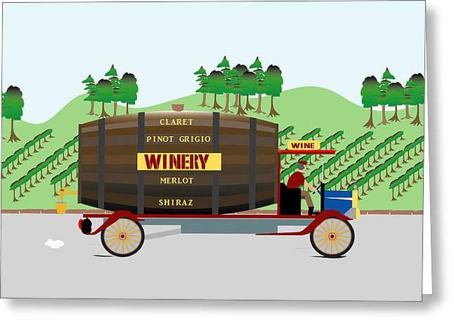 Vintner Digital Greeting Cards - Winery truck Greeting Card by Nigel Wakefield