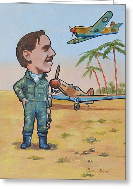 Murray Mcleod Paintings Greeting Cards - Wing Cdr.Clive Caldwell Greeting Card by Murray McLeod
