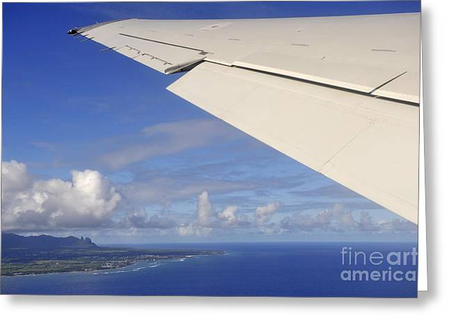 Wing Of Airplane Leaving Greeting Card by Sami Sarkis