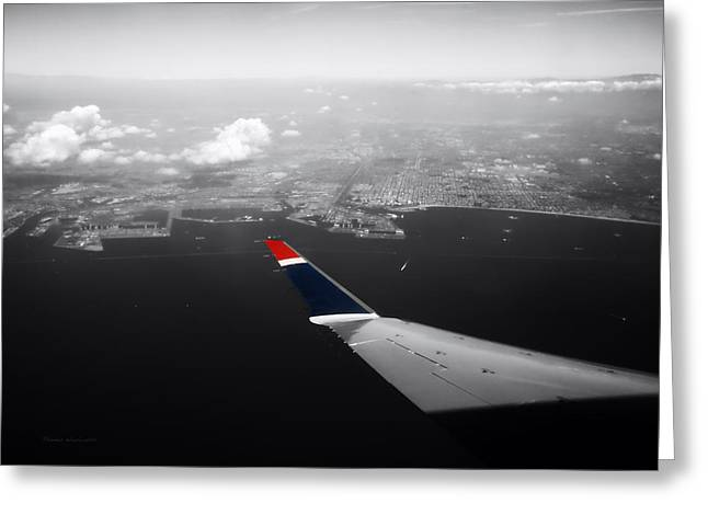 Airoplane Greeting Cards - Wing Tip View Over Long Beach CA SC Greeting Card by Thomas Woolworth