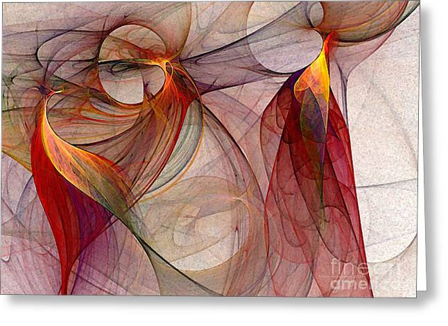 Querformat Greeting Cards - Winged-Abstract Art Greeting Card by Karin Kuhlmann