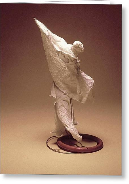 Standing Sculptures Greeting Cards - Winged Angel Greeting Card by Connie Thomas