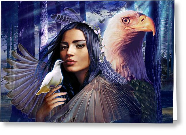 Eagle Feathers Greeting Cards - Winged Bretheren Land Variant 1 Greeting Card by Andrew Farley