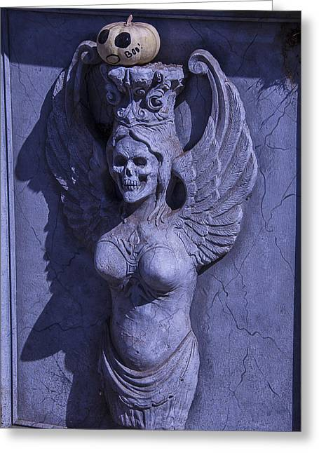 Winged Greeting Cards - Winged Death Statue Greeting Card by Garry Gay