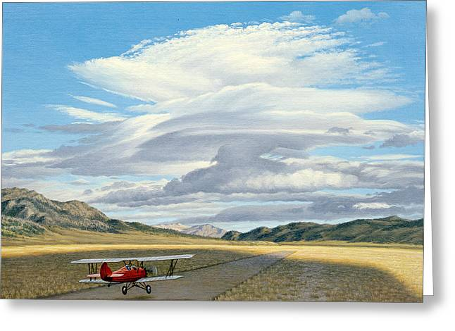 Biplane Greeting Cards - Winged Dreams -Travelaire Biplane Greeting Card by Paul Krapf