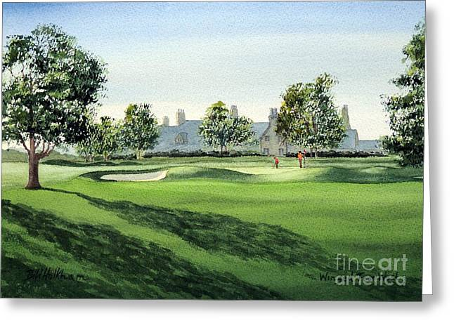 Us Open Golf Greeting Cards - Winged Foot West 18Th Hole Greeting Card by Bill Holkham